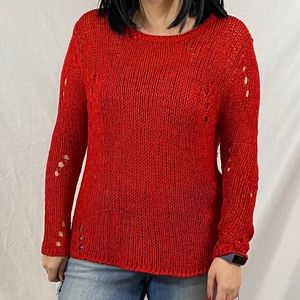 Miracle Sweater Red Knit Sweater Size M/L